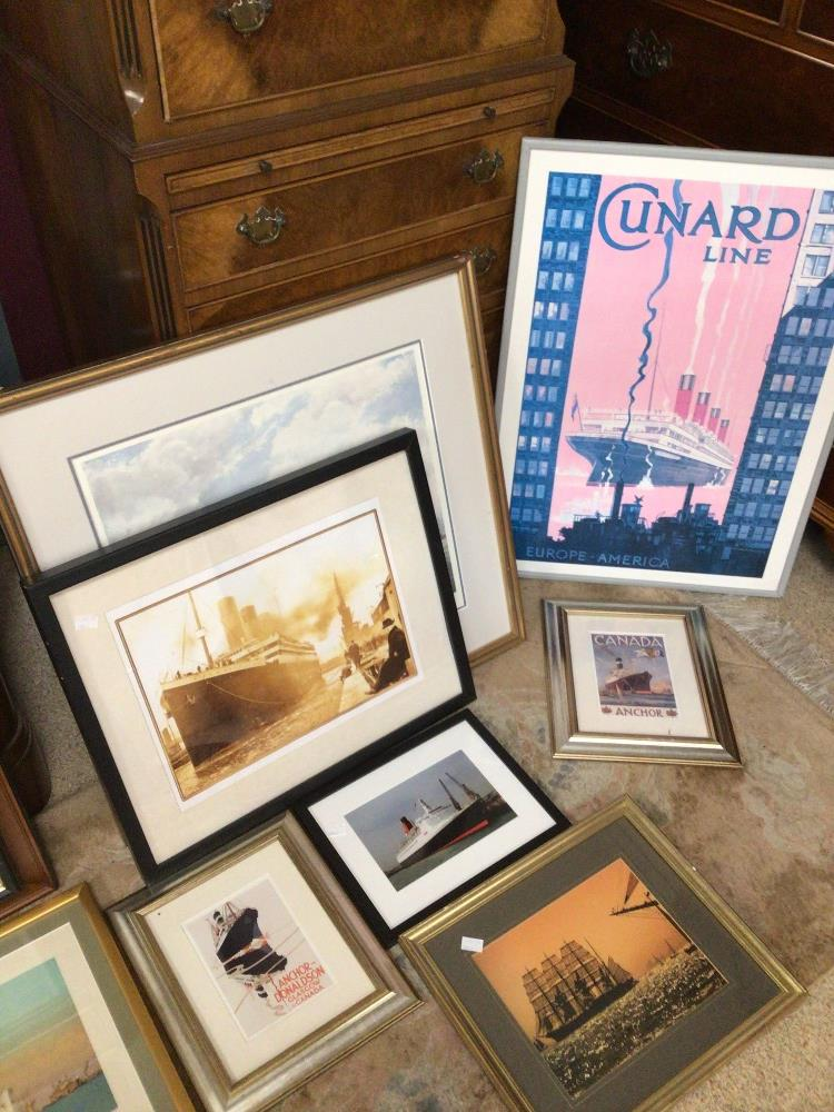 A LARGE QUANTITY OF SHIPS/BOATING PRINTS AND PHOTOGRAPHS, TITANIC CUNARD AND MORE, MOST FRAMED AND - Image 4 of 5