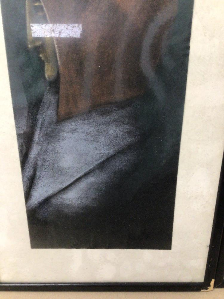 TWO FRAMED AND GLAZED PICTURES OF FIGURES ONE INDISTINCTLY SIGNED 27CM X 57CM - Image 5 of 6