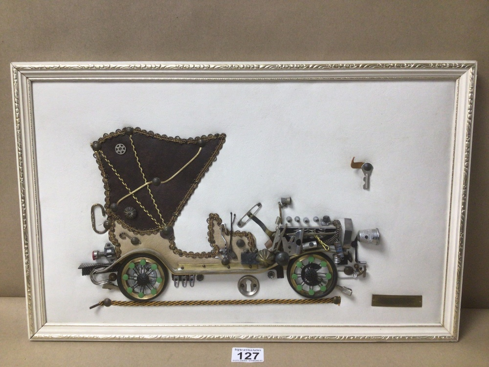 A FRAMED PICTURE OF A 1901 MERCEDES MADE FROM BIT AND PIECES, THIMBLE, SAFETY PIN AND MORE, 53 X