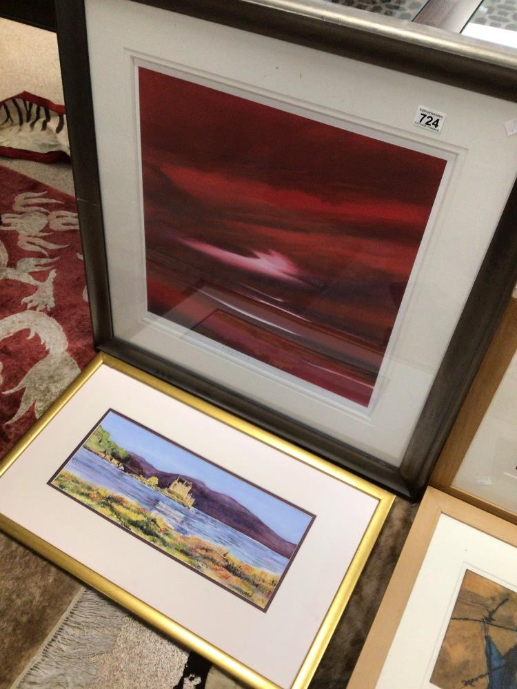 THREE LIMITED EDITION PRINTS WITH A FRAMED WATERCOLOUR, LARGEST PRINT BY JONATHAN SHAW RUBYSKIES II, - Image 3 of 8