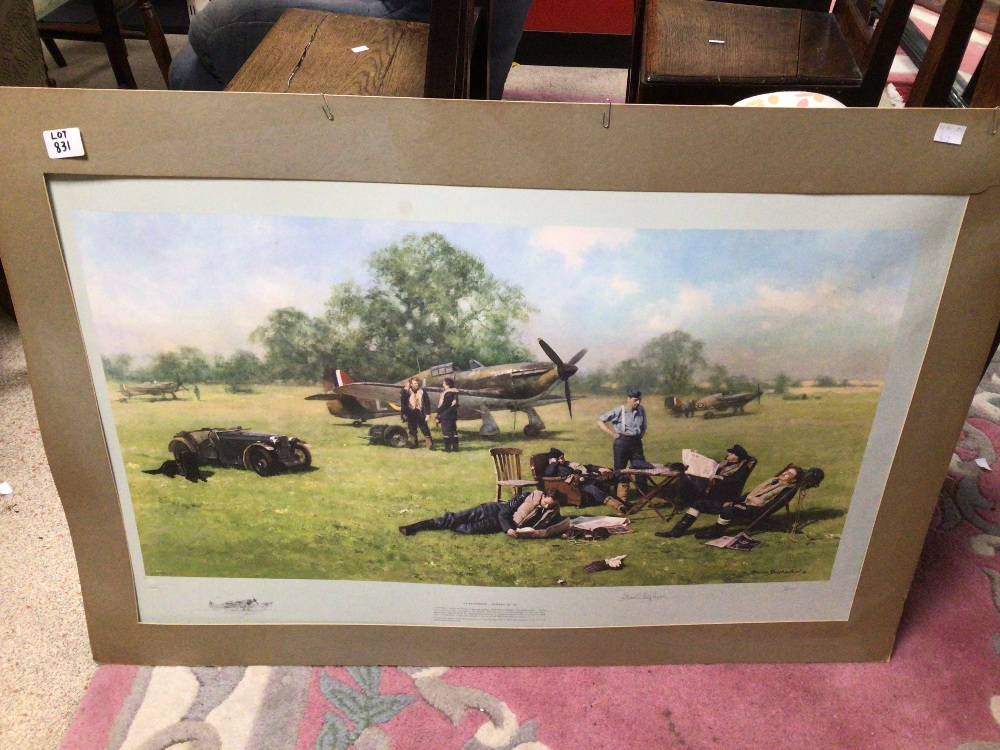 A SIGNED DAVID SHEPHERD LIMITED EDITION PRINT 70 / 850 (AT READINESS SUMMOL 1940), UNFRAMED