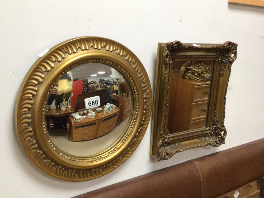 TWO VINTAGE GILDED MIRRORS, CONVEX 37CM AND 30 X 34CM - Image 2 of 2