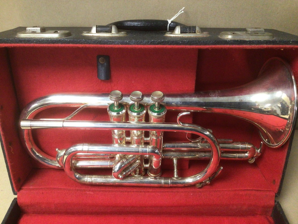 AN AMERICAN D.E.C DYNASTY CORNET, IN HARD PADDED CASE, WITH CONTENTS INCLUDING CLEANING KIT, - Image 2 of 4