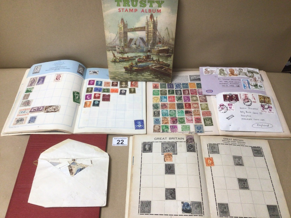 A COLLECTION OF STAMPS INCLUDES FIVE ALBUMS AND THREE ENVELOPES