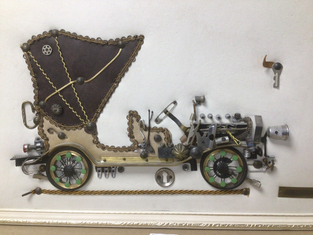 A FRAMED PICTURE OF A 1901 MERCEDES MADE FROM BIT AND PIECES, THIMBLE, SAFETY PIN AND MORE, 53 X - Image 3 of 4