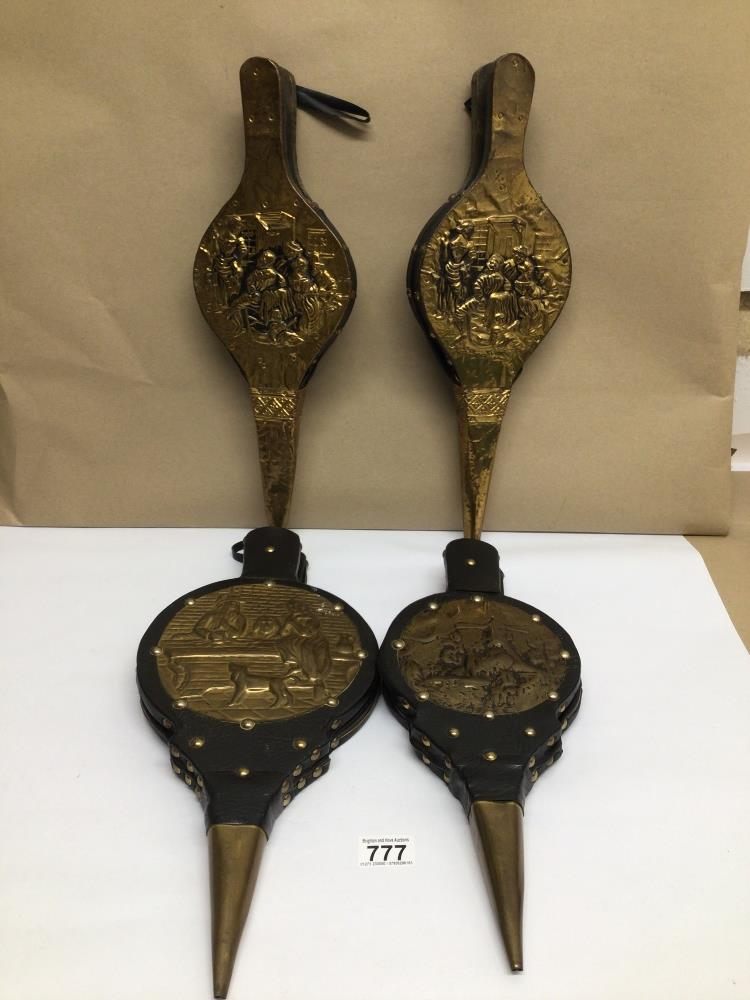 FOUR VINTAGE LEATHER AND BRASS BELLOWS