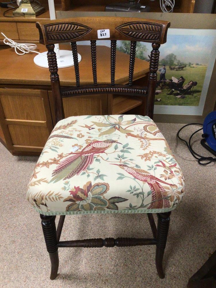 A VICTORIAN BEDROOM CHAIR WITH BOBBIN TURNED CARVING - Image 2 of 2