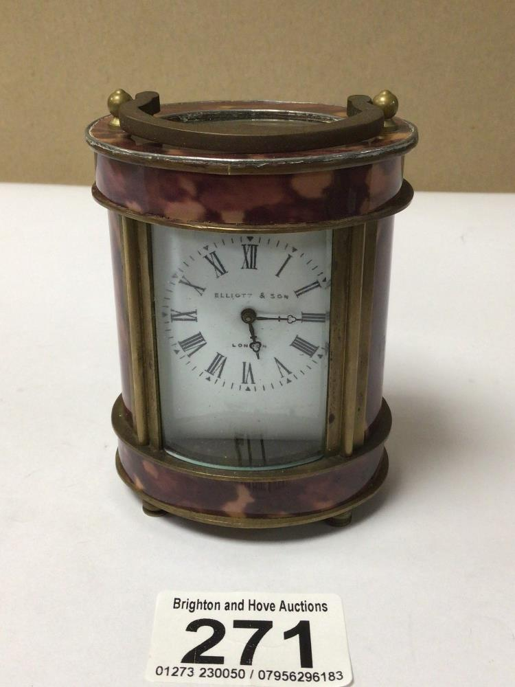 A SMALL BRASS WITH SIMULATED TORTOISESHELL OVAL CARRIAGE CLOCK, ELLIOT AND SONS ROMAN NUMERALS TO - Image 2 of 6