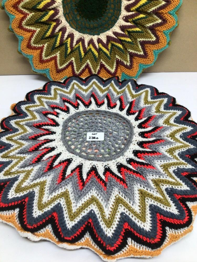 A PAIR OF VINTAGE 1970S RETRO/BOHO ROUND CROCHETED CUSHIONS, 50CM DIAMETER WITH A SIMILAR TABLE MAT - Image 2 of 4