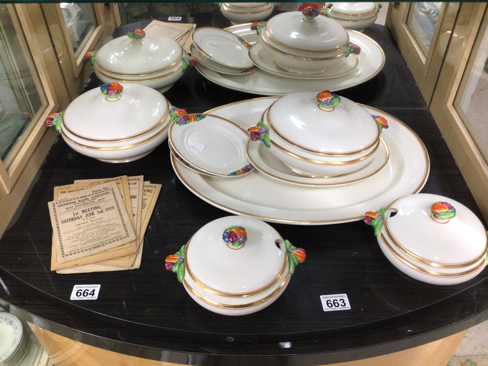 BOOTHS CHINA PART DINNER SERVICE (EMBOSSED FRUIT) EIGHT PIECES
