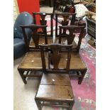 FIVE EARLY 19TH CENTURY OAK WELSH CHAIRS A/F
