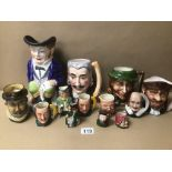 A QUANTITY OF MIXED TOBY JUGS, INCLUDES MUSICAL