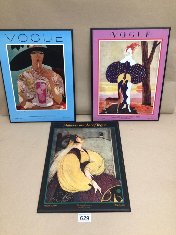 VOGUE THREE REPRODUCTION PRINTS ON BOARD, 37 X 29CM