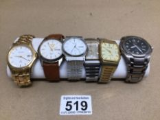 A QUANTITY OF GENTLEMANS WATCHES, ACCURIST, CITIZEN, SEIKO AND MORE
