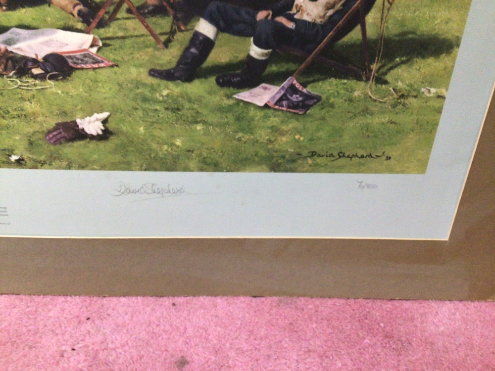 A SIGNED DAVID SHEPHERD LIMITED EDITION PRINT 70 / 850 (AT READINESS SUMMOL 1940), UNFRAMED - Image 3 of 4