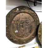 A VINTAGE COPPER WALL PLAQUE OF MEN IN PERIOD DRESS PLAYING CHESS, 63CM DIAMETER