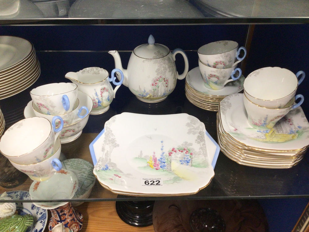 SHELLEY TEA SERVICE THIRTY-FOUR PIECE (REG NO 771299) ARCHWAY OF ROSE PATTERN