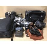 A COLLECTION OF CAMERAS AND OTHER ELECTRONICS, SOME A/F, INCLUDES OLYMPUS, NIKON AND MORE