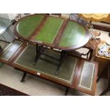 A GREEN DROP END SOFA TABLE WITH A DROP END SIDE TABLE BOTH WITH GREEN LEATHER TOPS, LARGEST 96 X 50