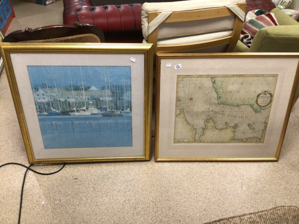 A QUANTITY OF MAPS MOST OF WHICH ARE UNFRAMED WITH A YACHTING FRAMED AND GLAZED PRINT