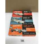 THREE VINTAGE BOXED ELECTRIC CARS BY SCALECRAFT, 'B.R.M' GRAND PRIX, JAGUAR 'E' TYPE AND LOTUS '25'.