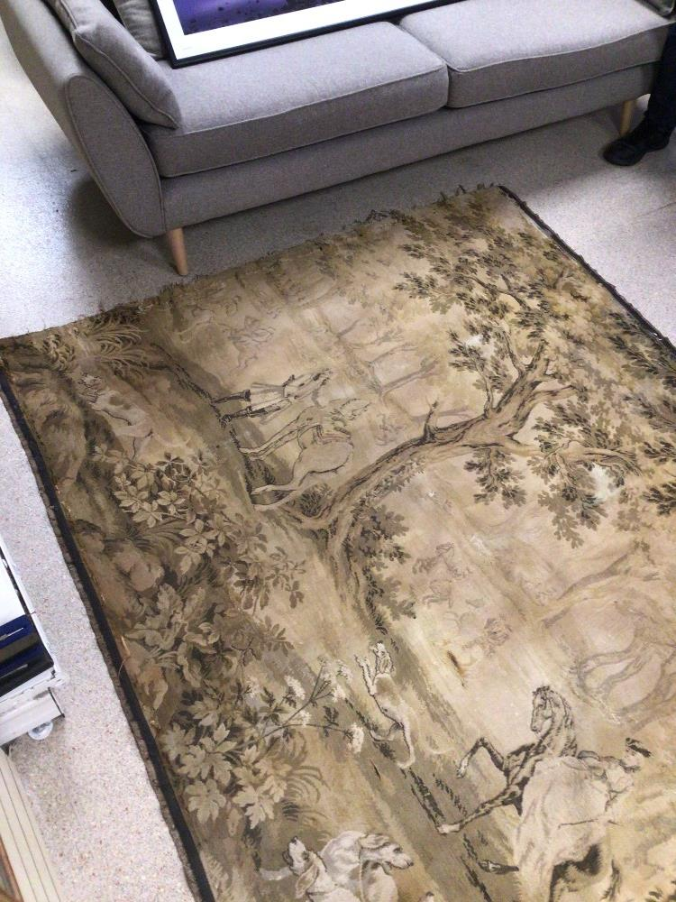 A VINTAGE BELGIUM WALL HANGING, 176 X 235CM APPROX, A/F - Image 4 of 8