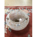 A VINTAGE MOTTLED GLASS SHADE WITH CHAINS 32CM