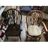 TWO WHEEL BACK ARMCHAIRS