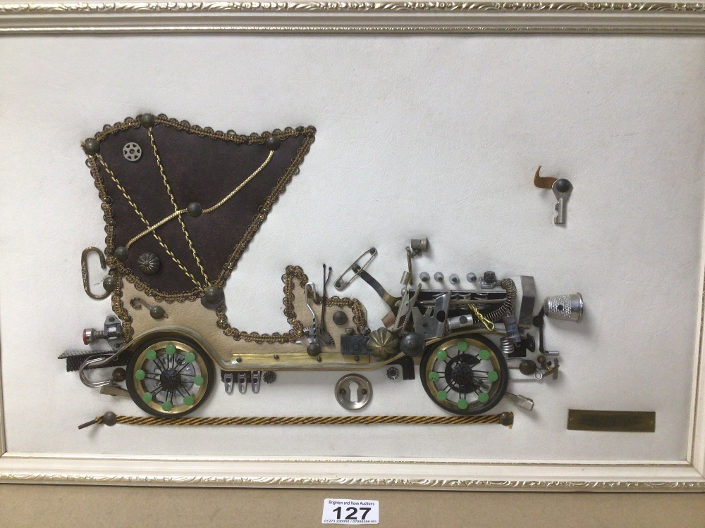 A FRAMED PICTURE OF A 1901 MERCEDES MADE FROM BIT AND PIECES, THIMBLE, SAFETY PIN AND MORE, 53 X - Image 2 of 4