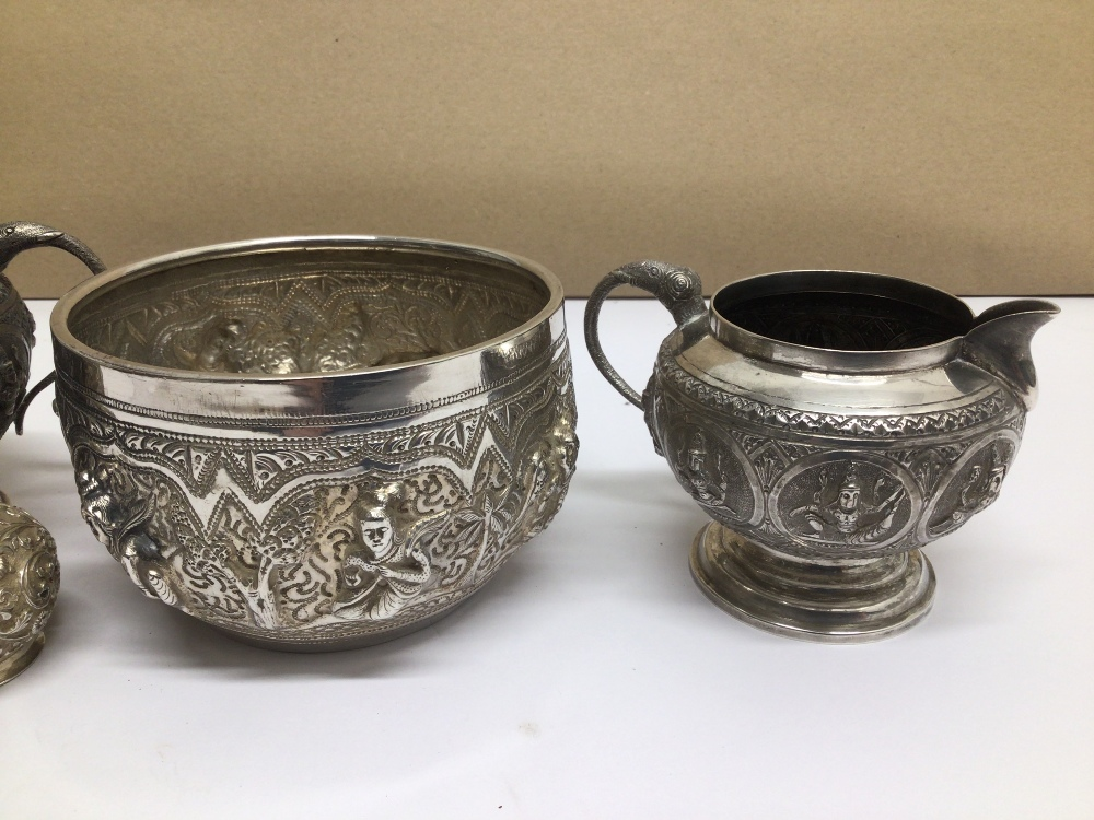 FOUR PIECES OF MIDDLE EASTERN WHITE METAL ALL HIGHLY EMBOSSED - Image 3 of 5
