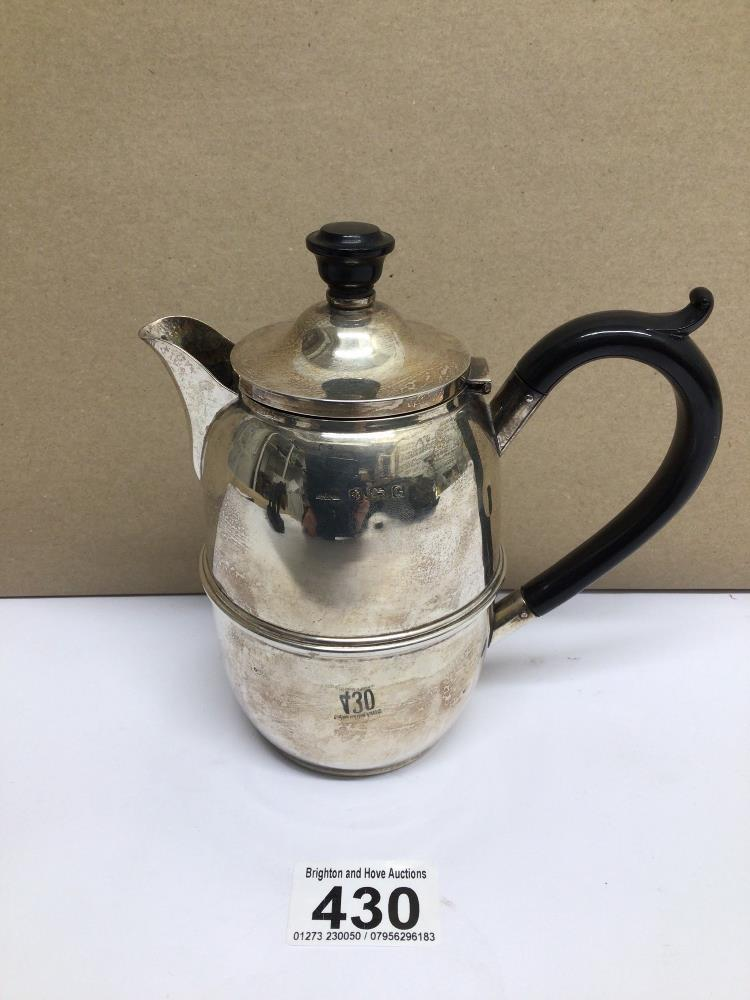 A HALLMARKED SILVER BARREL SHAPED HOT WATER JUG 1931, DENNISON WIGLEY AND CO, TOTAL WEIGHT 185