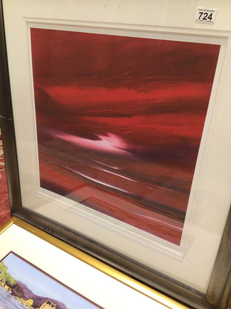 THREE LIMITED EDITION PRINTS WITH A FRAMED WATERCOLOUR, LARGEST PRINT BY JONATHAN SHAW RUBYSKIES II, - Image 5 of 8