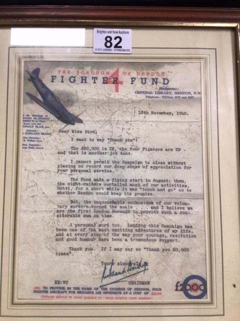 A FRAMED AND GLAZED SIGNED AND DATED WW2 FIGHTER FUND 'THANK YOU' LETTER ADDRESSED TO 'MISS BIRD' - Image 3 of 3