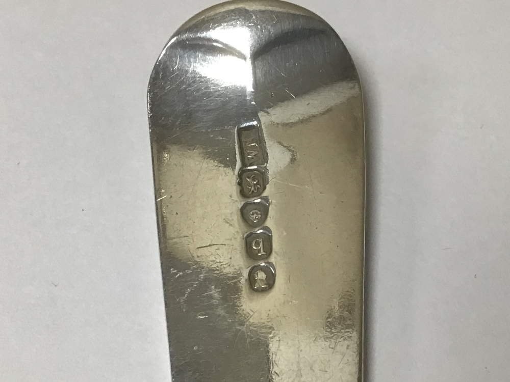 A GEORGE III HALLMARKED SILVER FISH SLICE WITH PIERCED BLADE, 28CM 1791 BY WILLIAM KEY, 111 GRAMS - Image 3 of 3