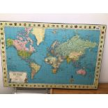 A STANFORDS GENERAL MAP OF THE WORLD ON BOARD, 96 X 63CM