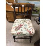 A VICTORIAN BEDROOM CHAIR WITH BOBBIN TURNED CARVING
