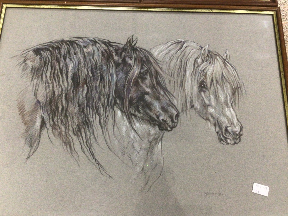 THREE FRAMED AND GLAZED WATERCOLOURS, LESLIE BENESON AND TWO BY SHARON TONG. ALL STUDIES OF HORSES - Image 2 of 5