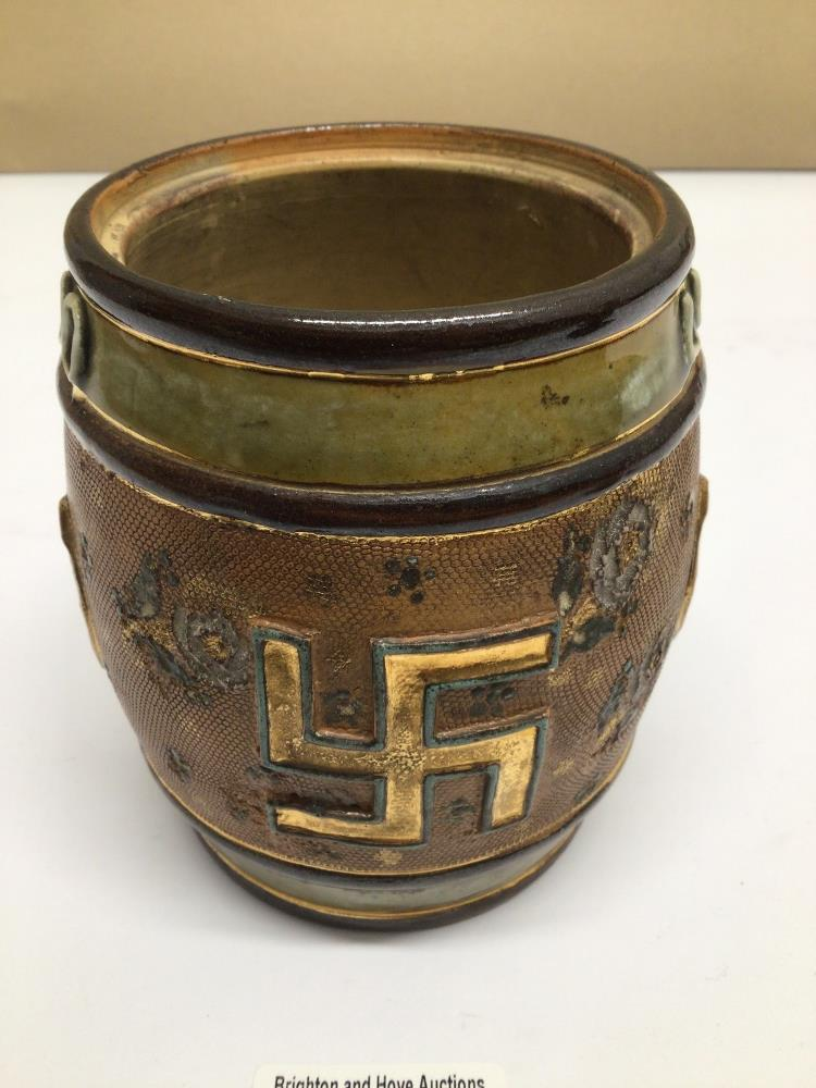 A ROYAL DOULTON EARLY 20TH CENTURY TOBACCO JAR (LID MISSING) GOOD LUCK WITH SWASTIKA EMBLEM, 12CM - Image 2 of 4