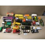 A QUANTITY OF PLAY WORN, DIE-CAST VEHICLES, MATCHBOX, DINKY AND CORGI
