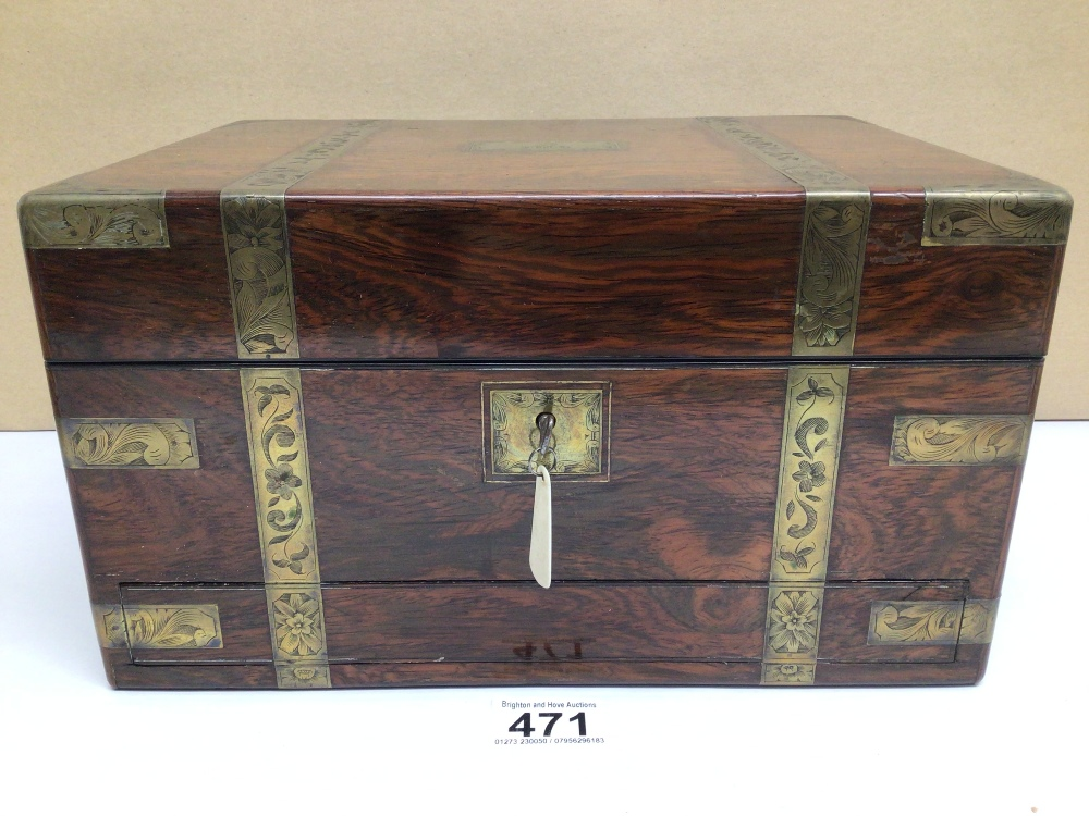 A VICTORIAN ROSEWOOD AND FOLIATE ENGRAVED BRASS BOUND RECTANGULAR TRAVELLING TOILET BOX, THE - Image 2 of 10