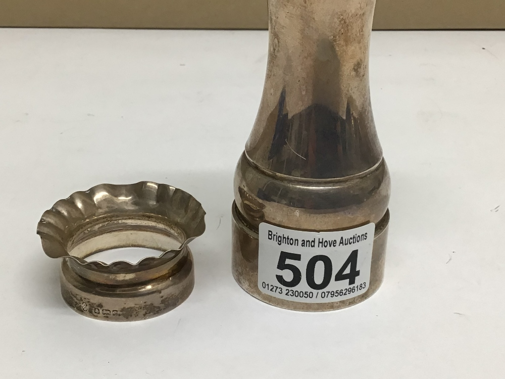 A HALLMARKED SILVER PETER PIPER SALT MILL A/F WITH A HALLMARKED SILVER NAPKIN RING TOTAL WEIGHT, 239 - Image 3 of 4