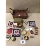 A SMALL BOX OF COLLECTABLES INCLUDES PATCHES, MINIATURE FIGURINES, AND MORE
