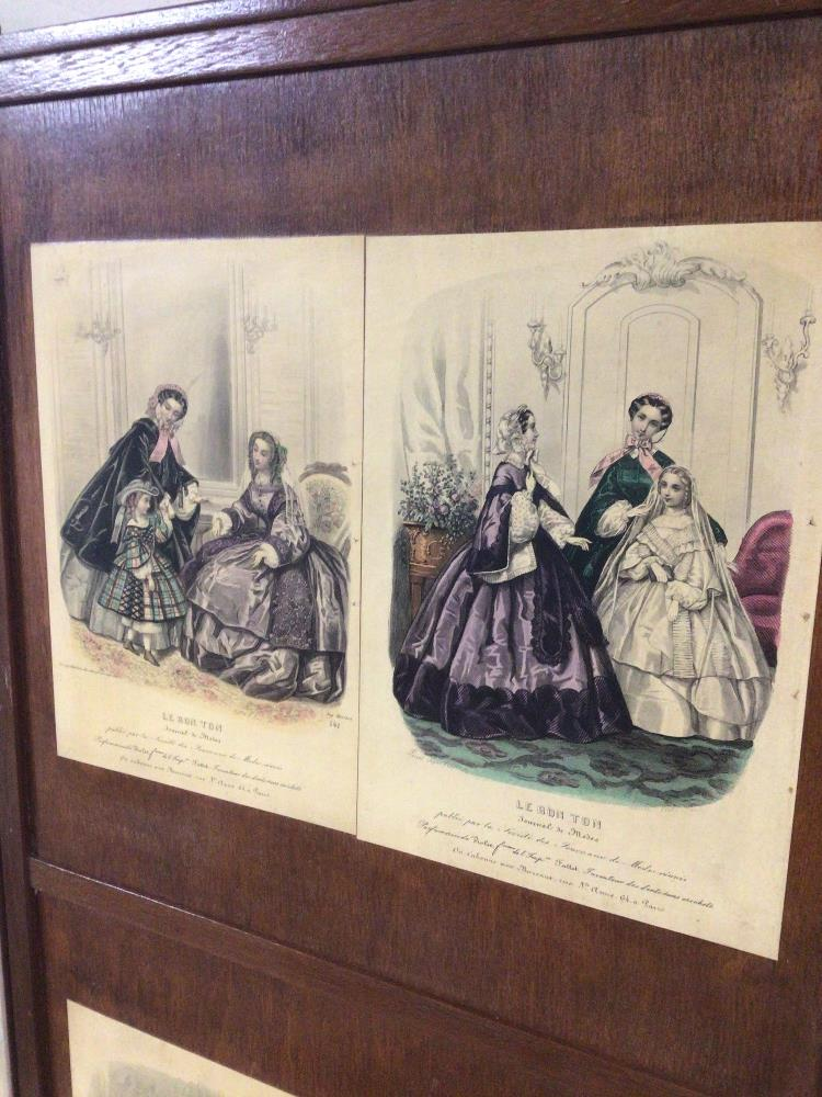 A VINTAGE WOODEN FOUR FOLD SCREEN DECORATED WITH VICTORIAN FLOWER PRINTS/ AND VICTORIAN DRESSWEAR - Image 5 of 5