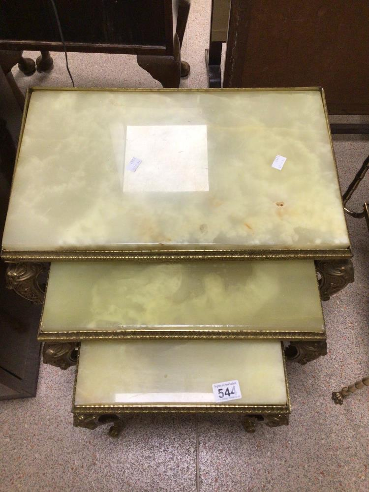 A VINTAGE NEST OF THREE TABLES GILDED FRAMES AND ONYX TOPS - Image 4 of 4
