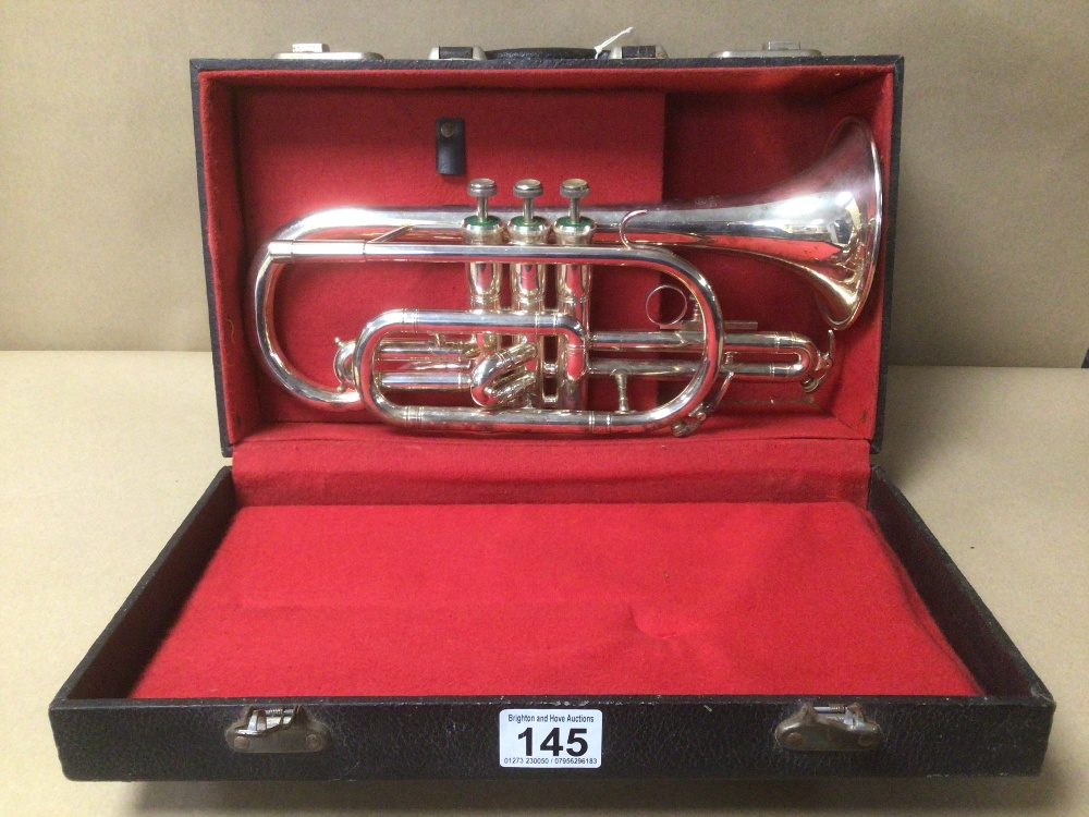 AN AMERICAN D.E.C DYNASTY CORNET, IN HARD PADDED CASE, WITH CONTENTS INCLUDING CLEANING KIT,