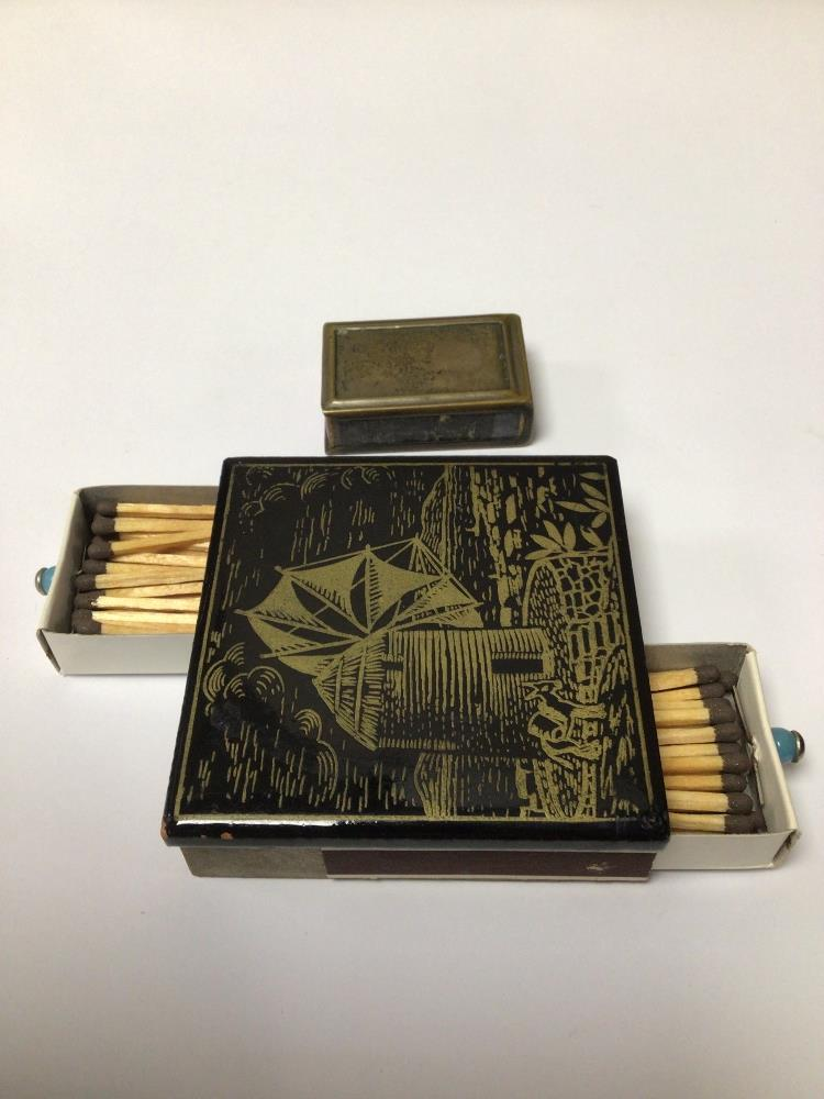 TWO MATCHBOX HOLDERS/STRIKERS LARGEST ONE DECORATED WITH A WINDMILL, 7.5CM - Image 3 of 3