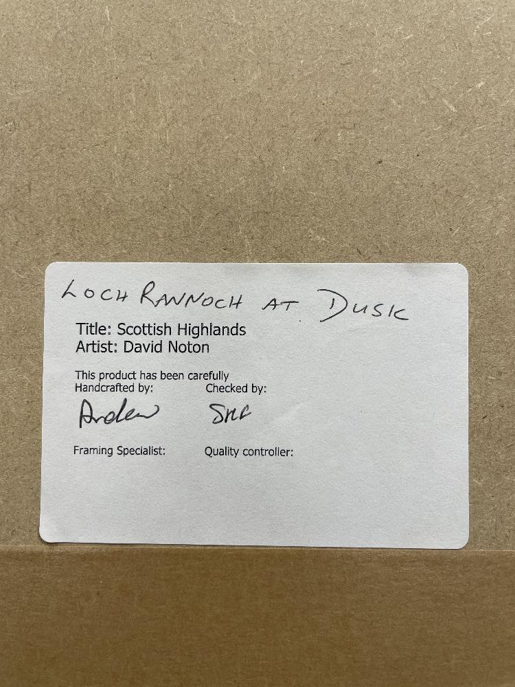 DAVID NOTON, TITLED SCOTTISH HIGHLANDS, LOCH RANNOCK AT DUSK PHOTOGRAPH FRAMED AND GLAZED, 108 X - Image 7 of 8