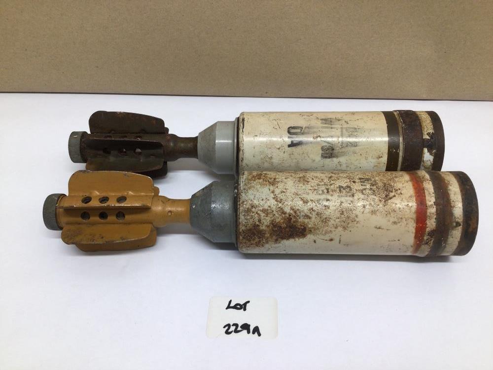 TWO PARACHUTE ILLUMINATING MORTAR BOMBS (INERT), 24CM
