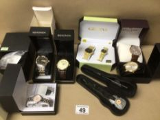 A SMALL MIXED COLLECTION OF LADIES AND GENT'S WATCHES, INCLUDES ACCURIST, LIMIT, GENEVA AND MORE