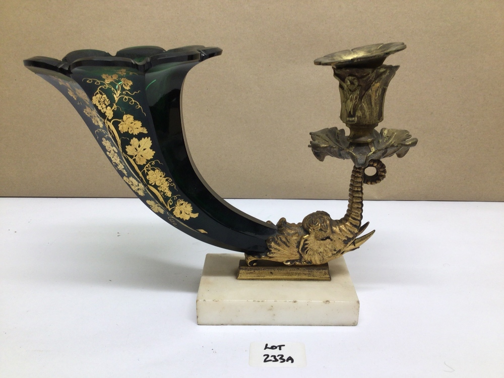 A BACCARAT STYLE BRASS AND GLASS CORNUCOPIA ON MARBLE BASE